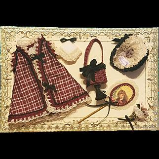 Mignonette Dress, Bonnet, Purse, & Accessories on Presentation Card ~ Cherie's Petite Boutique