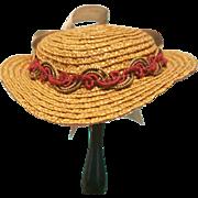 "Straw Bonnet for 7-7.5"" Doll Head ~ Artist-Made, Avant-Garde!  Cherie's Petite Boutique"