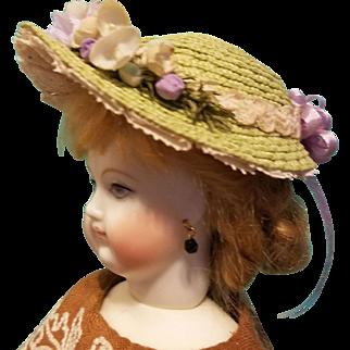 "Straw Bonnet for 5-5.5"" Doll Head ~ Artist-Made, Avant-Garde, Cherie's Petite Boutique"