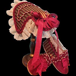 Huret Fashion Silk Bonnet & Slippers ~ Artist-Made, Cherie's Petite Boutique