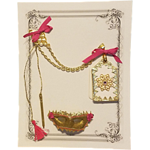 Dance Card & Masquerade Mask for French Fashion ~ Artist-Made, Cherie's Petite Boutique