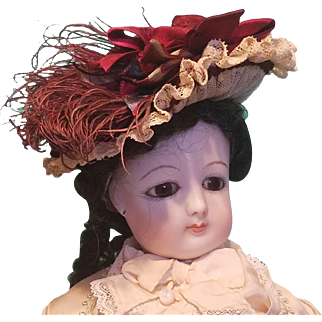 """Straw Lady's Bonnet for French Fashion or Bebe, 7"""" Head ~ Artist-Made, Cherie's Petite Boutique"""
