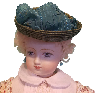 """Huret Style Bonnet for French Fashion  6.5 to7"""" Head ~ Artist-Made, Cherie's Petite Boutique"""