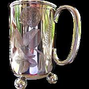 1889 Antique English sterling trophy mug