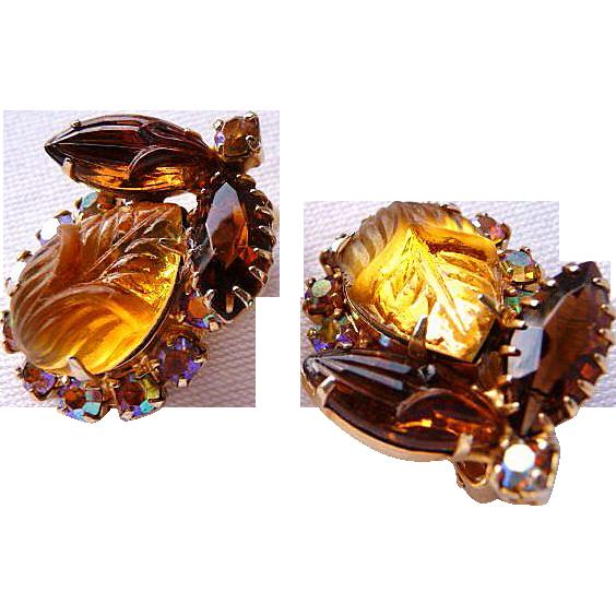 DeLizza & Elster autumn clip earrings verified