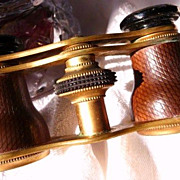 R E S E R V E D  for D A V I D Gentleman's antique leather and brass field/opera glasses