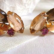 Art cab rhinestone earrings unsigned