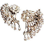 Vintage Austrian rhinestone silvertone earrings