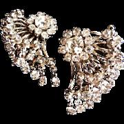 Vintage Austrian rhinestone silvertone earrings
