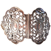 English antique sterling silver belt buckle massive