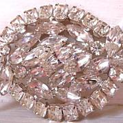 Vintage Kramer clear rhinestone brooch designer signed