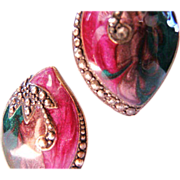 Vintage hand enameled and faux marcasite earrings