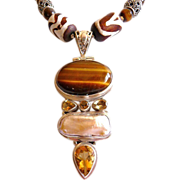 Bohemian tribal sterling tiger eye pendant necklace