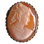 Vintage gilt sterling framed shell cameo brooch pendant