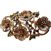 Vintage signed Hattie Carnegie poppies brooch pin