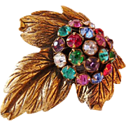Vintage 1930s unsigned multicolor rhinestone gold tone dress clip
