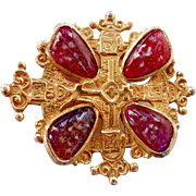 Vintage signed Accessocraft Maltese cross poured glass cabs pin brooch