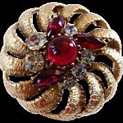 Vintage BSK carved goldtone and faux ruby brooch pendant
