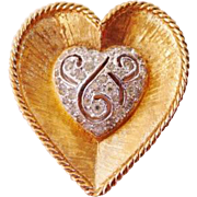 Panetta heart shape pin brooch designer signed