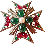Vintage signed WEISS Maltese cross pin pendant