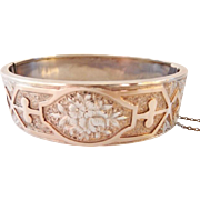 Edwardian floral Aesthetic sterling gold cuff bracelet