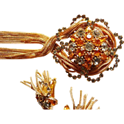 Hobe brooch pendant and earrings silver gray and golden topaz