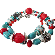 Anne Choi bead tribal turquoise lampwork necklace Emil Zola