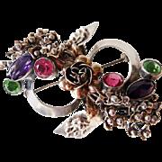 Hobe sterling vermeil ribbon faux gems brooch