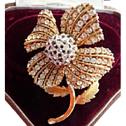 Ciner domed pave Swarovski rhinestone flower brooch