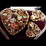 Austria heart shaped pin brooch clip earrings