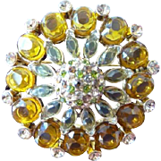 Golden Swarovski style high fashion brooch pin