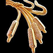 Swarovski gold tone rhinestone cattail brooch pin