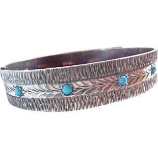 English sterling cuff bangle turquoise beads Birmingham 1971