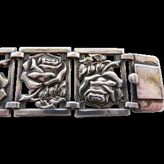 Sterling silver rose flower panel bracelet unsigned