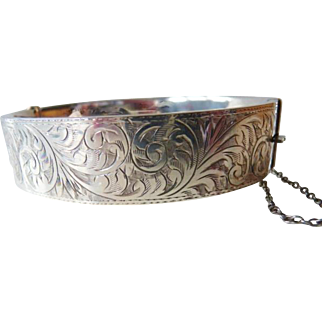 Vintage sterling Edwardian style bracelet cuff