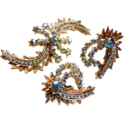 Har comet design brooch clip earrings set