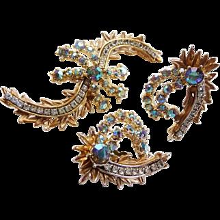 Har comet design brooch clip earrings set