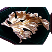 Napier vermeil sterling silver leaf pin brooch