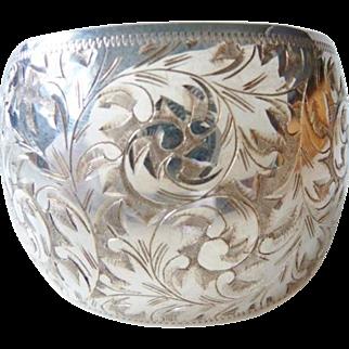 Vintage English wide sterling engraved cuff bracelet