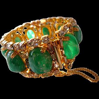 vintage Hobe flawed emerald art stones bracelet