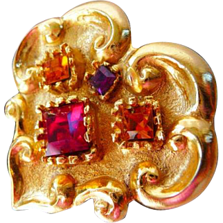 Christian Lacroix French couture heart brooch pin