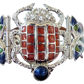 Edgar Berebi Egyptian scarab panel cuff bracelet