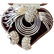 Pennino sterling silver rhinestone pin brooch clip earrings set