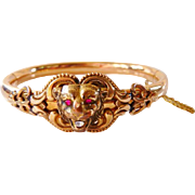 Victorian gold filled lion lioness head hinged bangle bracelet | antique vintage 1890s | hallmarked FMCo