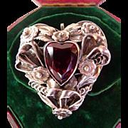 Hobe sterling silver heart garnet paste brooch pin pendant