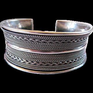 Bali ornate sterling silver cuff bracelet
