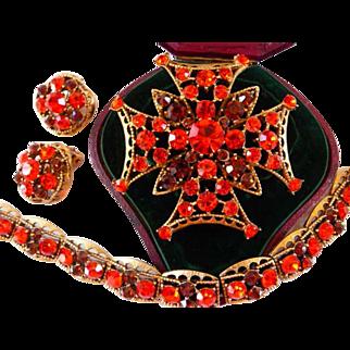 Weiss Maltese cross pin brooch clip earrings bracelet set