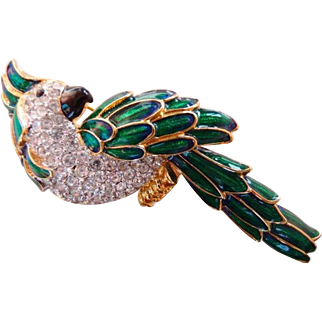 Nolan Miller enameled parrot pin brooch