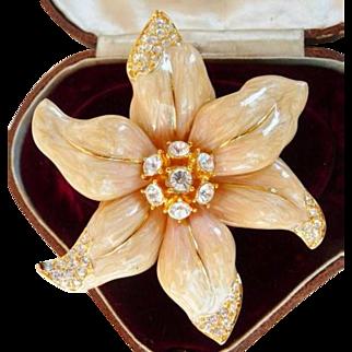 Nolan Miller enamel floral brooch pin