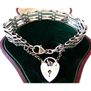 Sterling silver gate bracelet heart padlock